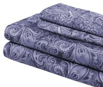 Superior 300 Thread Count Cotton Print Sheet Set Queen, Maywood Blue