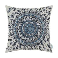 CaliTime Canvas Throw Pillow Cover Case for Couch Sofa Home Decor Floral Compass Leaves Medallion 20 X 20 Inches Navy Blue