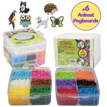 8,000pc Fuse Bead Super Kit w/Animal Pegboards and Templates - 12 Colors, 6 Peg Boards, Tweezers, Ironing Paper, Case - Works with Perler Beads - Great Gift, Pixel Art Project