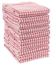 KAF Home Set of 10 Grid Terry Kitchen Towels | 20 x 30 Inches, 100% Cotton, Ultra Absorbent Terry Dish Towels - Red