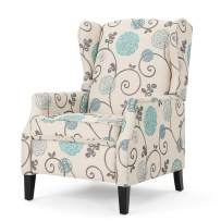 Christopher Knight Home Wescott Traditional Fabric Recliner, White And Blue Floral Pattered