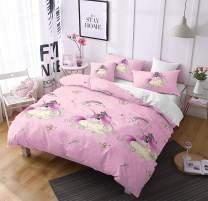 Unicorn Bedding Set Twin Size Duvet Cover Kids Girls Quilt Cover Cute Cartoon Rainbow Unicorn for Teen Princess Crown Bed Set Gift Pink Unicorn Duvet Cover+1 Pillowcases