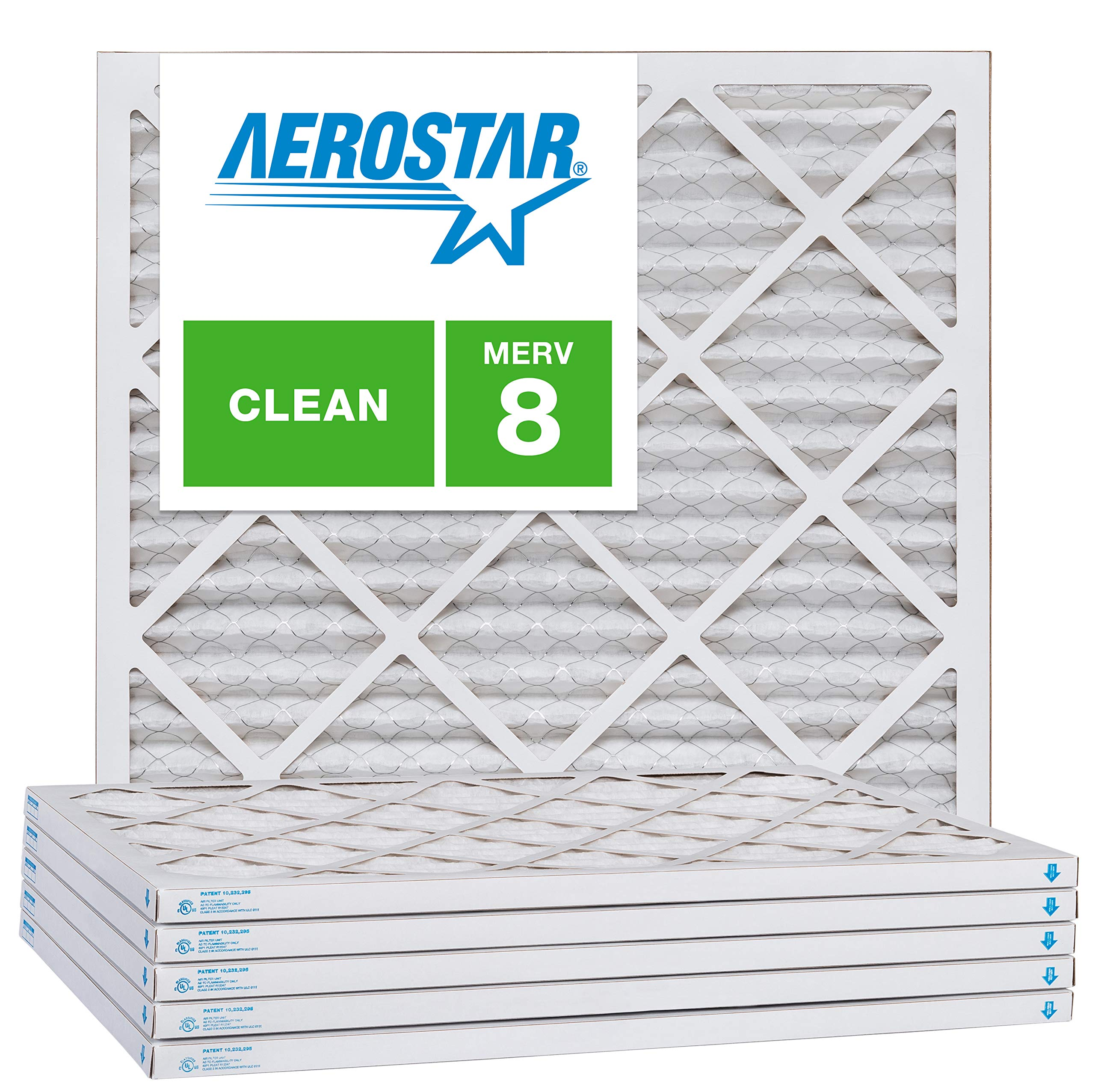 Aerostar 21x21x1 MERV 8, Pleated Air Filter, 21x21x1, Box of 6, Made in The USA