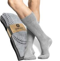 Gripjoy Socks with Grippers for Women & Men, 3-Pack Casual Crew Hospital Socks with Grip