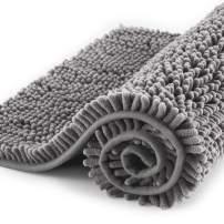 "Subrtex Non-Slip Bath Rugs Bathroom Shower Mat Absorbent Luxury Chenille Plush Doormat(20""x32"",Light Gray)"