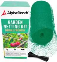 AlpineReach Garden Netting Kit 7.5 x 65 Feet Green Woven Mesh - Extra Heavy Duty Protect Plants Fruits Flowers Trees - Stretch Fencing Durable Net 100 Zip Ties Fine Cover Gift Stops Birds Deer Animals