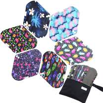 7pcs Set 1 pc Bonus Free Mini Wet Bag +6pcs Absorbent Reusable Sanitary Pads/Washable Bamboo Cloth Menstrual Pads (S,Feather)
