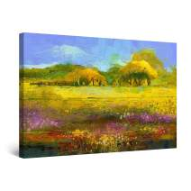 """Startonight Canvas Wall Art Abstract - Green Painting with Rural Landscape - Framed 24"""" x 36"""""""