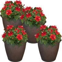 Sunnydaze Anjelica Flower Pot Planter, Outdoor/Indoor Unbreakable Double-Walled Polyresin with UV-Resistant Rust Finish, Set of 4, Large 24-Inch Diameter