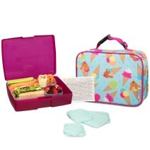 Bentology Lunch Bag and Box Set for Kids - Girls Insulated Lunchbox Tote, Bento Box, 5 Containers and Ice Pack - 9 Pieces - Ice Cream