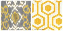 Thirstystone OCS Bright Lattice Tile I/Gray & Yellow Ikat A/2 Coasters, Multicolor