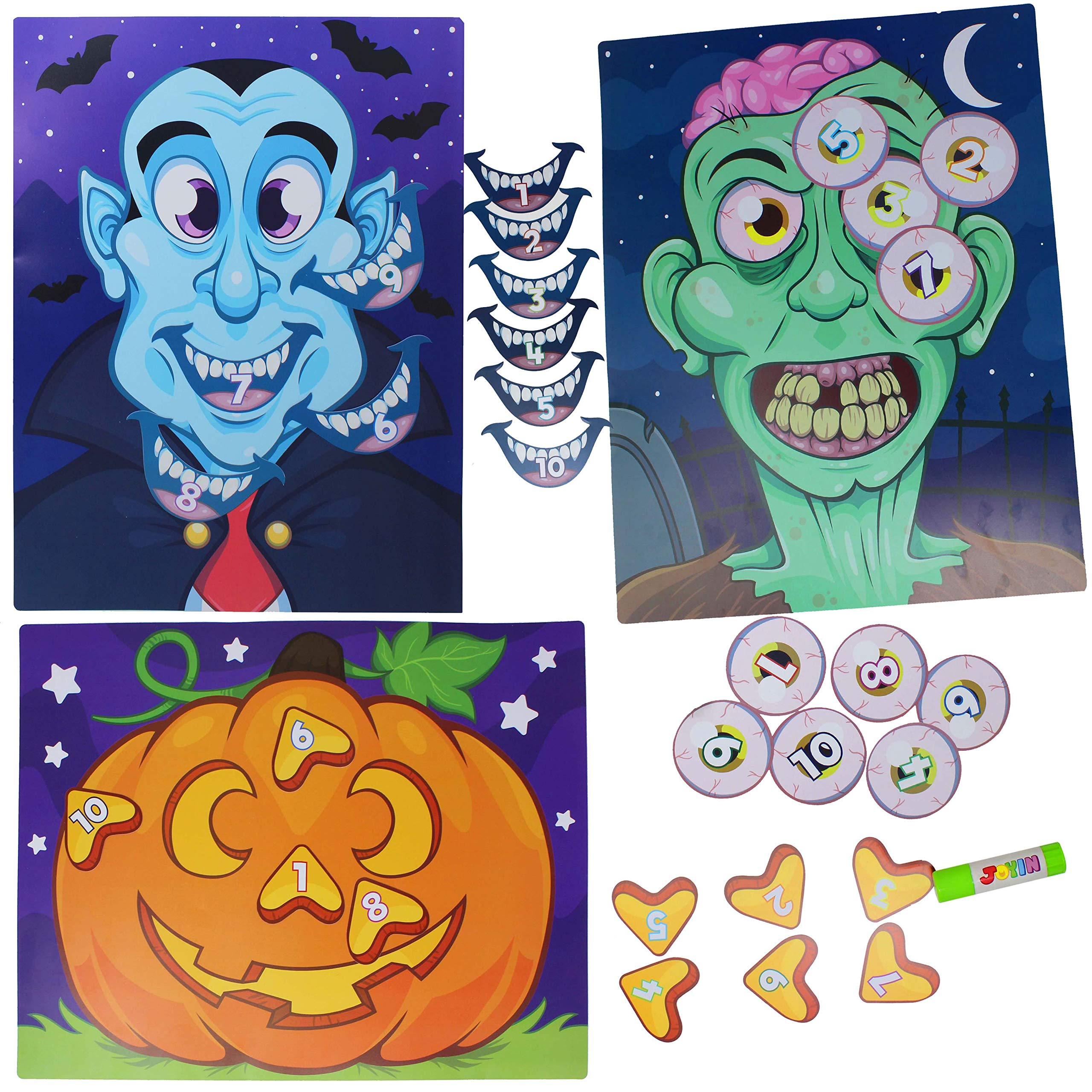 JOYIN Halloween Party Supplies Pin the Nose on Pumpkin, Pin the Eye on Zombie, Pin the Mouth on Vampire Fun Halloween Game Packs (Glue Stick Included)