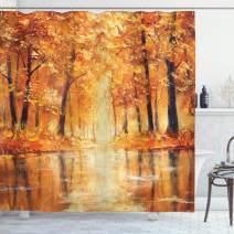 """Ambesonne Country Shower Curtain, Painting of a Forest by The Small Lake in Autumn Pale Fall Trees and Leaves Art, Cloth Fabric Bathroom Decor Set with Hooks, 75"""" Long, Orange Brown"""