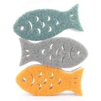 New HB Kitchen Sponges Fish Shape, Double-Sided Cleaning Dish Sponge for Kitchen, Bathroom - Set of 3…