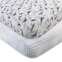 Touched by Nature Unisex Baby and Toddler Organic Cotton Crib Sheet, Dino, One Size