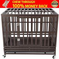 """Haige Pet Your Pet Nanny 46"""" Heavy Duty Dog Crate Cage Strong Metal Kennel for Large Dogs Easy to Assemble with Two Prevent Escape Lock and Four Lockable Wheels"""