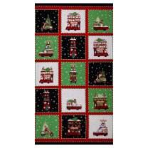 Northcott Double Decker Christmas 24'' Block Panel Black/Multi Fabric