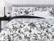Chanasya Ultra Soft Toile Print 3-Piece Bedding Duvet Cover Set Queen - Luxurious Brushed Microfiber Comforter Cover - Zipper Closure Reversible Print (1 Duvet Cover & 2 Pillowcases) White Charcoal