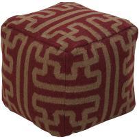 "Smithsonian by Surya Hand Made 100% Wool Plum 18"" x 18"" x 18"" Pouf"