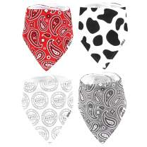 Stadela 100% Cotton Baby Bandana Drool Bibs for Drooling and Teething Nursery Burp Cloths 4 Pack Unisex Baby Shower Gift Set for Girl and Boy – Western Baby Cowboy Cowgirl Cow Skin Paisley Wild West