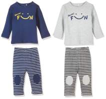 Zanie Kids Unisex Baby's Long Sleeves Pajama Sets Smile Print Cotton Baby Clothes, 2-Pack