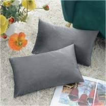 COMFORTLAND New Year/Christmas Decorative Pillow Covers 12x20 Grey: 2 Pack Cozy Soft Velvet Rectangular Throw Pillow Cases for Farmhouse Sofa Couch Bed Chair Home Decor Decorations