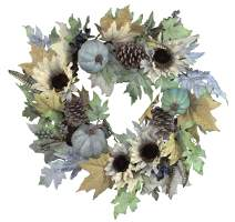 Admired By Nature Rustic Sunflower, 24 Inch, Pumpkin Wreath
