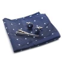 FIBO STEEL Mens Tie Pocket Square Cufflinks Tie Clip Set Business Wedding Birthday Set with Black Box