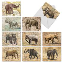 10 Assorted 'Trunk Mail' Thank You Greeting Cards 4 x 5.12 inch, All Occasion Cards with Envelopes, Elephants and World Maps Stationery Set for Weddings, Father's Day, Thanksgiving M9636TYG