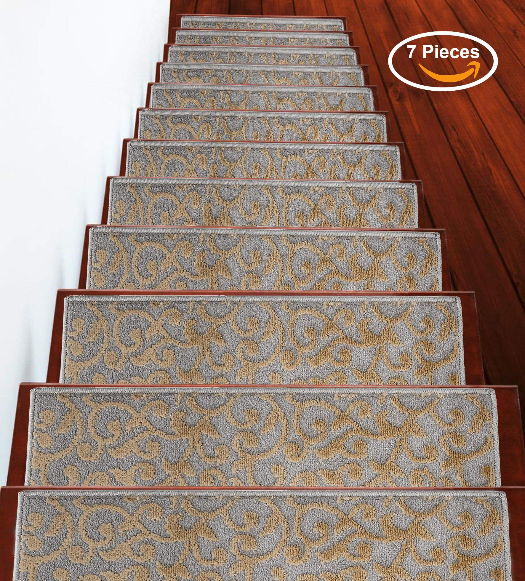 Stair Treads Leaves Collection Contemporary, Cozy, Vibrant and Soft Stair Treads, 9'' x 28'', Beige, Pack of 7 [100% Polypropylene] Tape Applied