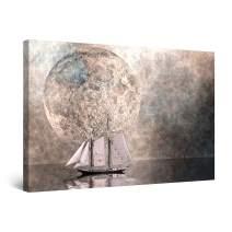 "Startonight Canvas Wall Art Abstract Ship and Moon Gray Painting Framed 24"" x 36"""