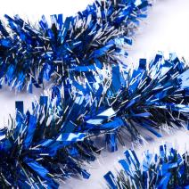 iPEGTOP 3Pcs x 6.6ft Christmas Tinsel Garland, Classic Thick Shiny Sparkly Christmas Tree Ornaments Party Ceiling Hanging Decorations, 3.5 inch Wide Ink White Filaments - Blue