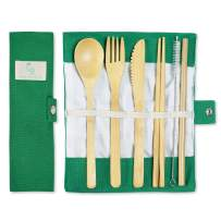 Bamboo Silverware Portable Straw Reusable Cutlery Travel Set Reusable Utensils Bamboo Cutlery Set Wooden   Fork Knife Spoon Chopsticks Straw Straw Cleaner   Sustainable Travel Pouch