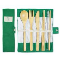 Bamboo Silverware Portable Straw Reusable Cutlery Travel Set Reusable Utensils Bamboo Cutlery Set Wooden | Fork Knife Spoon Chopsticks Straw Straw Cleaner | Sustainable Travel Pouch