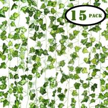 JUNGLE ELF 15 Pack/Per 82 Inch Artificial Plant Fake Hanging Vine Ivy Leaves Greenery Garland for Wedding Backdrop, Jungle Decorations, Safari Party Supplies, Farmhouse Wreath (15 Pcs,82 Inch Each)