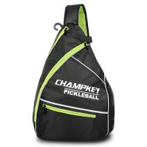 Champkey Lightweight Pickleball Sling Bag - Large Storage & Breathable Support Pads,Left & Right Reversible Strap Ideal for Pickleball