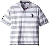 U.S. Polo Assn. Men's Big and Tall Striped Pique Polo Shirt