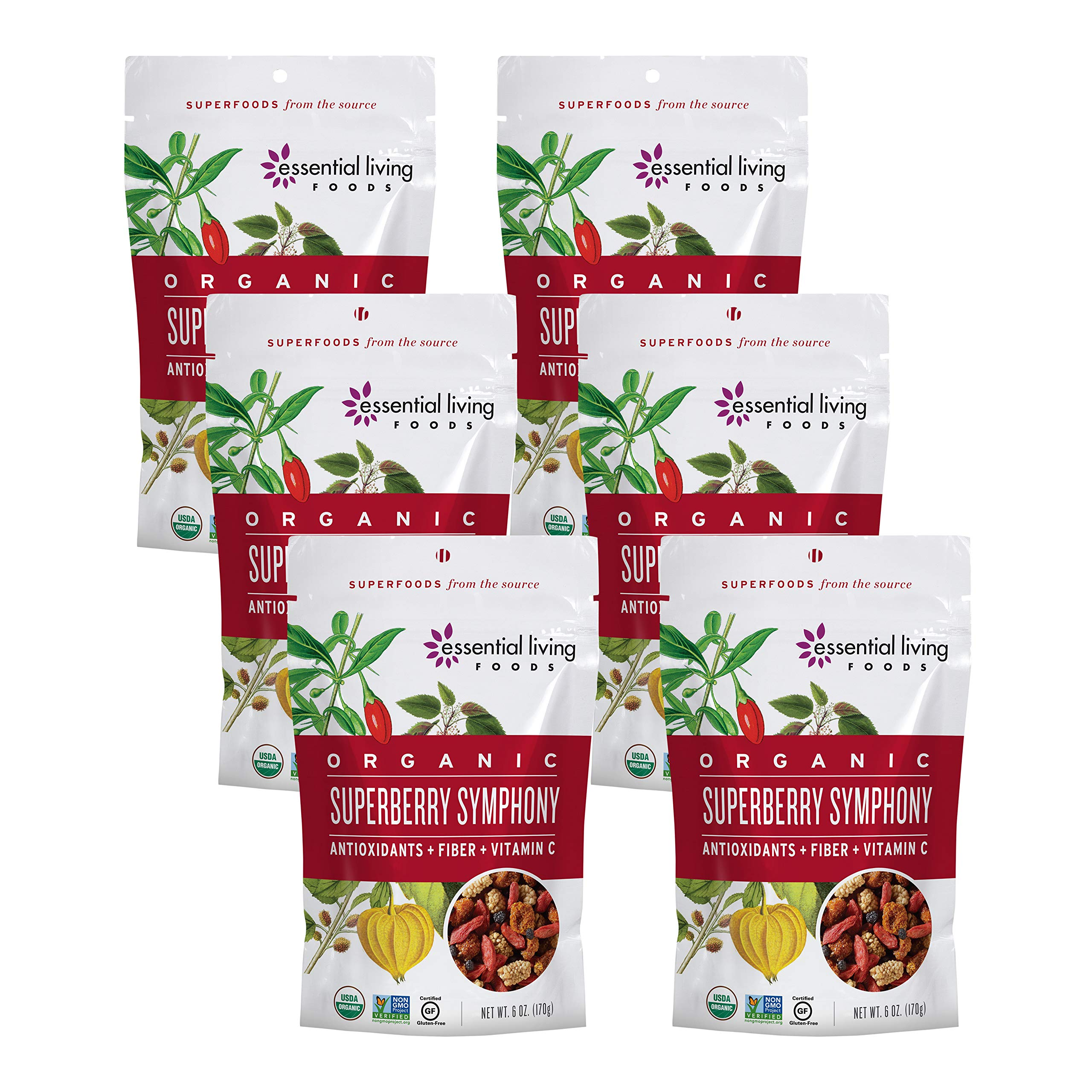 Essential Living Foods Organic Super Berry Symphony Trail Mix 6oz, 6 Pack - Vegan, Non-GMO, Gluten Free, Resealable Bags, 6 Ounce …