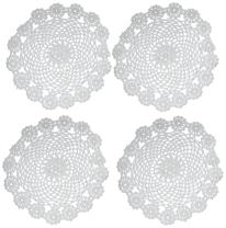 kilofly Crochet Cotton Lace Table Placemats Doilies Pack, 4pc, White, Garland, 7 inch