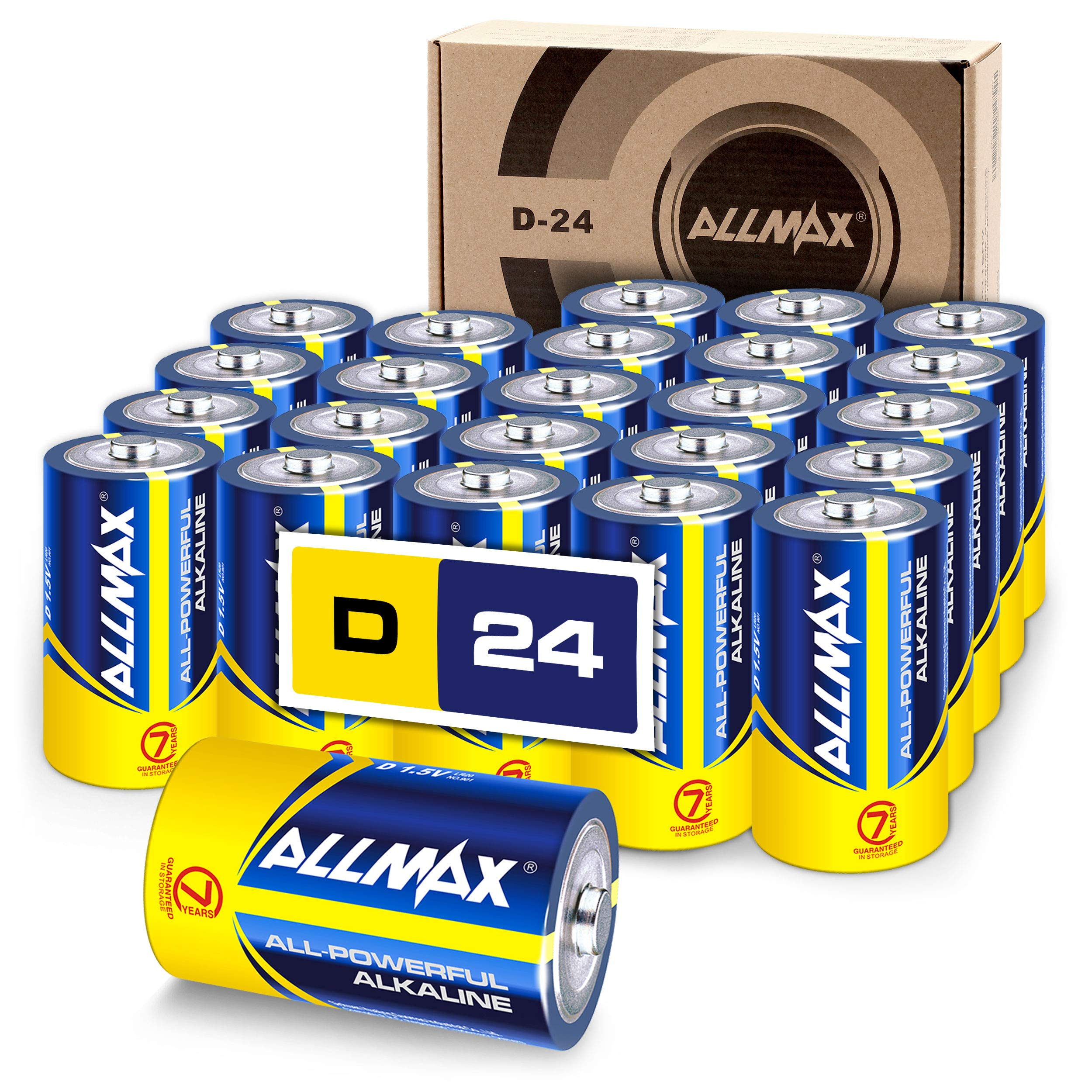 ALLMAX All-Powerful Alkaline Batteries - D (24-Pack) - Premium Grade, Ultra Long-Lasting and Leak Proof with EnergyCircle Technology (1.5 Volt)
