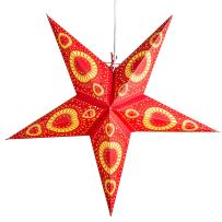 Sunflower Red Paper Star Lantern with 12 Foot Power Cord Included