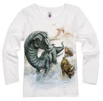 Shirts That Go Little Boys' Long Sleeve Brontosaurus and Triceratops Dinosaur T-Shirt