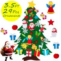 COCOMOON Felt Christmas Tree for Kids - 29 Pcs Ornaments Wall Decor with Hanging Rope for Toddlers Xmas Gifts Home Door Decoration (Felt Christmas Tree)