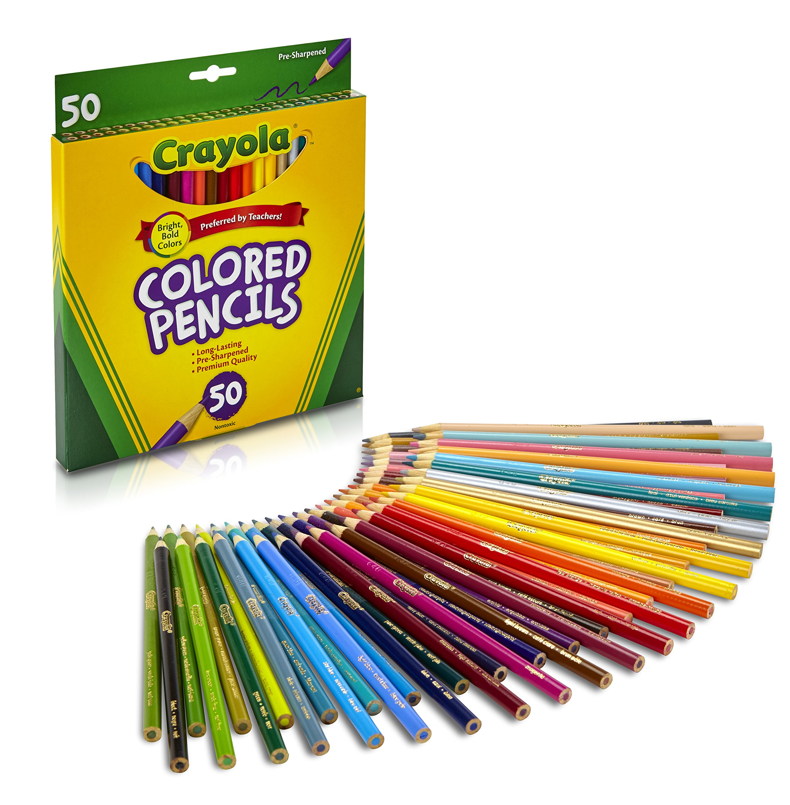 Crayola Colored Pencils, Assorted Colors, 50 Count, Gift