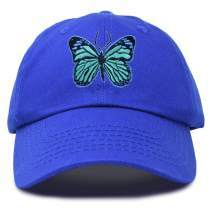DALIX Exotic Blue Butterfly Hat Womens Gift Embroidered Girls Cap in Royal Blue