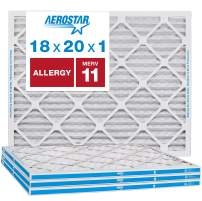 """Aerostar Allergen & Pet Dander 18x20x1 MERV 11 Pleated Air Filter, Made in The USA, (Actual Size: 17 3/4""""x19 3/4""""x3/4""""), 4-Pack"""