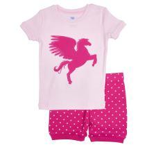 Bluenido Girls Unicorn and Crown Shorts 2 Piece Pajama 100% Soft Cotton