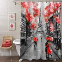 "MitoVilla Paris Eiffel Tower Shower Curtain for Paris Bathroom Decor, Vintage French Citysapce Oil Painting Bathroom Accessories, Paris Gifts for Women and Teen Girls, Red, Black, 72"" W x 72"" L"