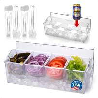 Pikanty Condiment Server Caddy on Ice with Hinged Lid (4 Serving Tongs and Tray for Drinks included) Made in USA (1, Server Caddy)