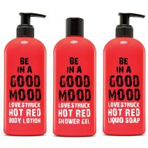 BE IN A GOOD MOOD 3-in-1 Body Care Set | Contains 1 Liquid Soap, 1 Body Lotion & 1 Shower Gel | Lotion & Body Wash Items Packed in 400-ml Bottles | For Home & Travel Use | Skin Care (Hot Red)